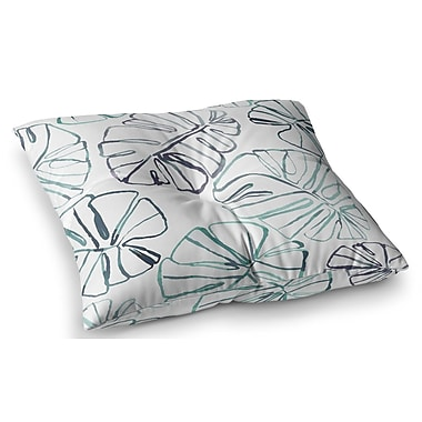 East Urban Home Monstera Illustration by Danii Pollehn Floor Pillow; 23'' x 23''
