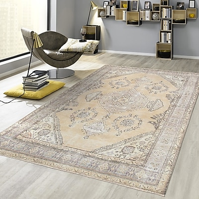 Pasargad Vintage Overdye Hand-Knotted Wool Beige Area Rug