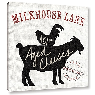 Gracie Oaks 'Farm Linen Goat Black' Graphic Art on Wrapped Canvas; 24'' H x 24'' W x 2'' D