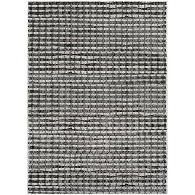 Gracie Oaks Hatboro Gray/Black Area Rug; 5'3'' x 7'3''
