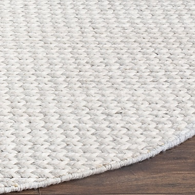 Gracie Oaks Newry Hand-Tufted Ivory/Silver Area Rug; Round 6'