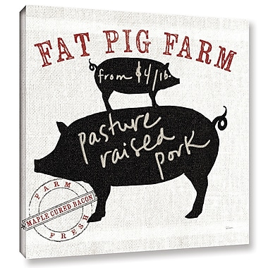 Gracie Oaks 'Farm Linen Pig Black' Graphic Art on Wrapped Canvas; 24'' H x 24'' W x 2'' D