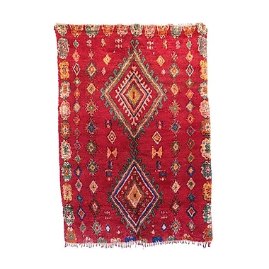Indigo&Lavender Moroccan Hand-Woven Wool Red Area Rug