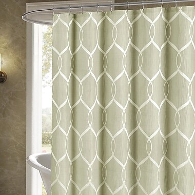 Darby Home Co Holcomb Wrinkle Wave Fabric Shower Curtain; Sage