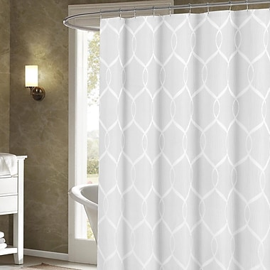 Darby Home Co Holcomb Wrinkle Wave Fabric Shower Curtain; White