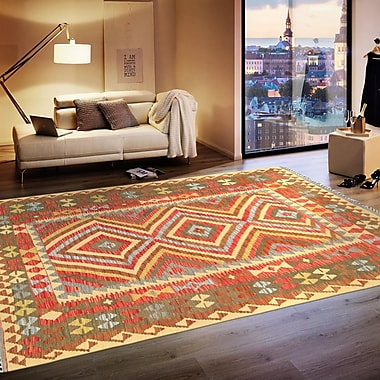 Pasargad Anatolian Kilim Hand-Woven Wool Red/Yellow Area Rug