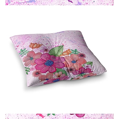 East Urban Home My Garden Floral by Julia Grifol Floor Pillow; 23'' x 23''