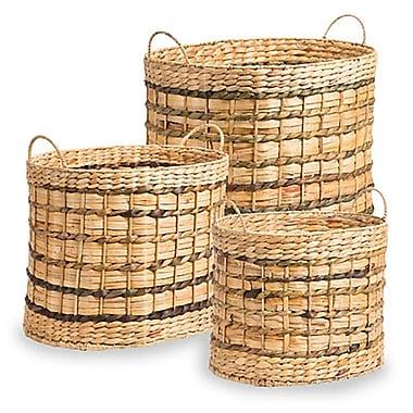 Gracie Oaks Oval Wicker/Rattan 3 Piece Basket Set