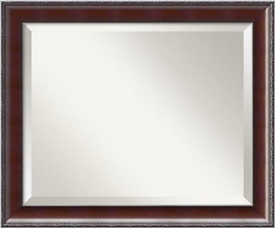 Gracie Oaks Bridges Dark Frame Walnut Wall Mirror