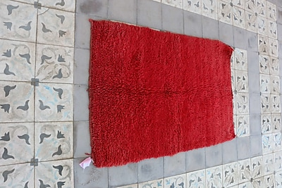 Indigo&Lavender Moroccan Hand Woven Wool Red Area Rug; 33'' L x 49'' W