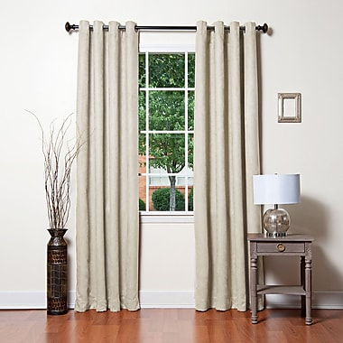 Gracie Oaks Rosales Solid Blackout Thermal Rod Pocket Curtain Panels (Set of 2); Biscuit