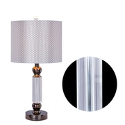 Everly Quinn Nakita Metal 24'' Table Lamp; Brushed Steel