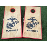 WestGeorgiaCornhole Stained Birch Marine Corps 10 Piece Cornhole Set