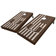 WestGeorgiaCornhole University of Miami Stained American Flag 10 Piece Cornhole Set