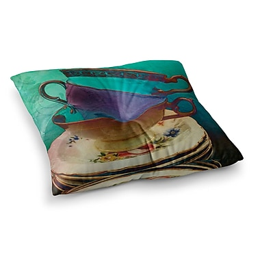 East Urban Home Mad Hatters T-Party I by Alyzen Moonshadow Floor Pillow; 23'' x 23''