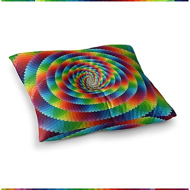 East Urban Home Rainbow Spectrum Spirograph Digital by Ancello Floor Pillow; 26'' x 26''