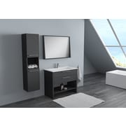 Orren Ellis Nico Modern 40'' Single Bathroom Vanity Set; Lacquer Matte Gray
