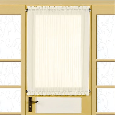 Sweet Home Collection Solid Semi-Sheer Rod Pocket Single Curtain Panel; Eggshell