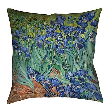 Red Barrel Studio Morley Concealed Zipper Irises Euro Pillow; Blue/Yellow