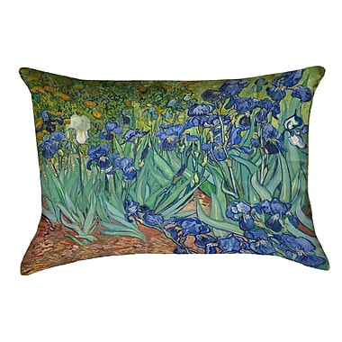 Red Barrel Studio Morley Irises Double Sided Print Rectangle Pillow Cover; Blue/Green