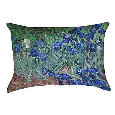 Red Barrel Studio Morley Irises Cotton Pillow Cover; Blue