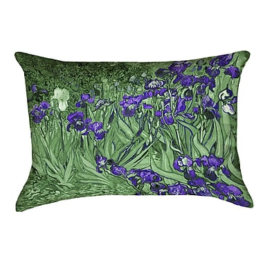 Red Barrel Studio Morley Irises Rectangle Pillow Cover; Green/Purple