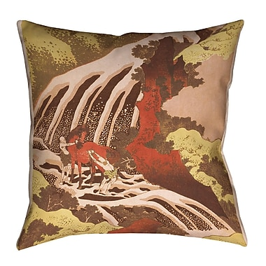 Bloomsbury Market Channelle Horse and Waterfall Square Euro Pillow; Yellow