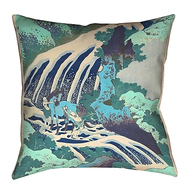 Bloomsbury Market Channelle Horse and Waterfall Indoor Euro Pillow; Teal
