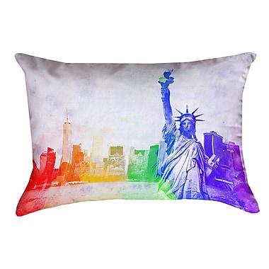 Brayden Studio Houck Watercolor Statue of Liberty 100pct Cotton Lumbar Pillow