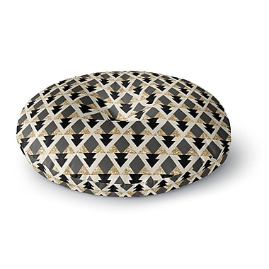 East Urban Home Nika Martinez 'Glitter Triangles in Gold & Black' Geometric Round Floor Pillow