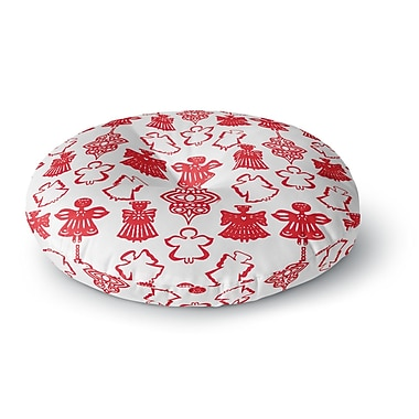East Urban Home Miranda Mol 'Angels Singing White' Holiday Round Floor Pillow; 26'' x 26''