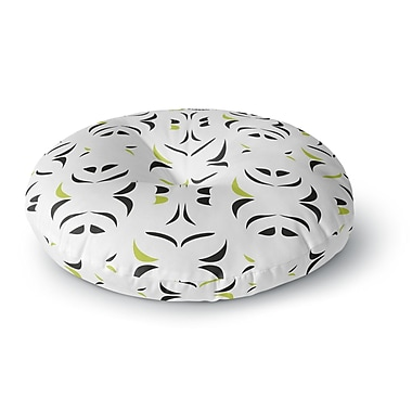 East Urban Home Miranda Mol 'Retro Green Snow Storm' Round Floor Pillow; 23'' x 23''