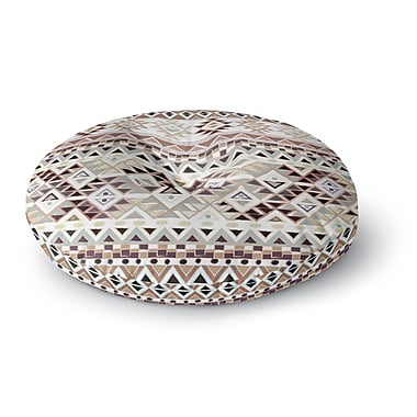 East Urban Home Nika Martinez 'Tribal Native in Pastel Brown' Round Floor Pillow; 26'' x 26''