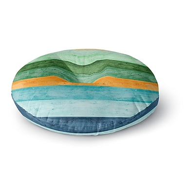 East Urban Home Monika Strigel 'Beach Wood Blue' Round Floor Pillow; 23'' x 23''