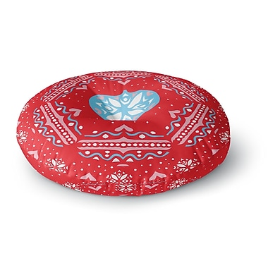 East Urban Home Miranda Mol 'Snow Joy Red' Round Floor Pillow; 26'' x 26''