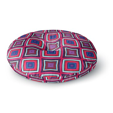 East Urban Home Miranda Mol 'Watercolor Blocks' Checker Round Floor Pillow; 26'' x 26''