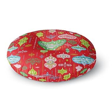 East Urban Home Miranda Mol 'Ornate Red' Ornaments Round Floor Pillow; 26'' x 26''