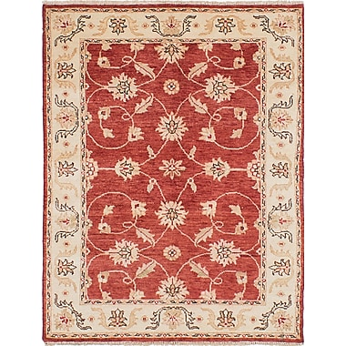 Fleur De Lis Living Barrows Hand-Knotted Red Area Rug