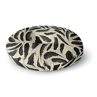 East Urban Home Skye Zambrana 'Feather Pattern' Round Floor Pillow; 26'' x 26''