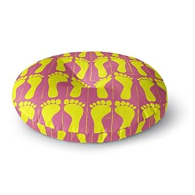 East Urban Home Sreetama Ray 'Footprints Yellow' Illustration Round Floor Pillow; 26'' x 26''
