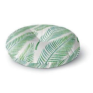East Urban Home 83 Oranges 'Green Palm' Illustration Round Floor Pillow; 26'' x 26''