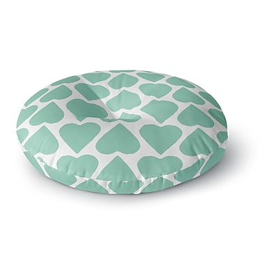 East Urban Home Project M 'Mint Up and Down Hearts' Round Floor Pillow; 23'' x 23''