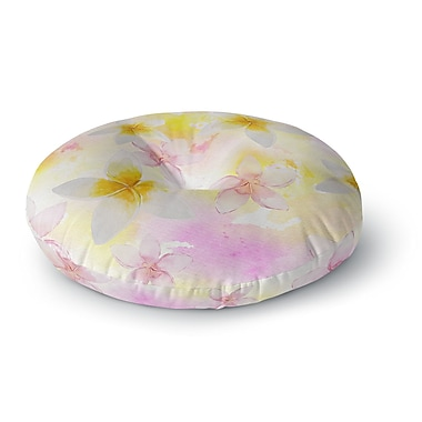 East Urban Home Sylvia Cook 'White Watercolor Plumerias' Digital Round Floor Pillow; 23'' x 23''