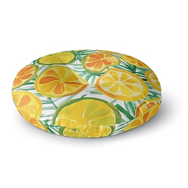 East Urban Home Yenty Jap 'Tropical Orange Slices' Watercolor Round Floor Pillow; 26'' x 26''