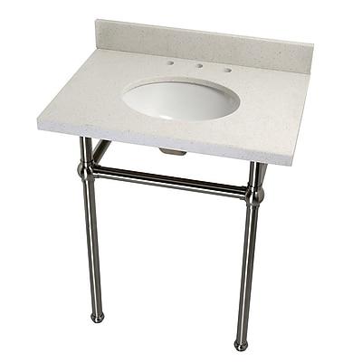 Kingston Brass Templeton Fauceture Quartz 30'' Console Bathroom Sink w/ Overflow; Satin Nickel