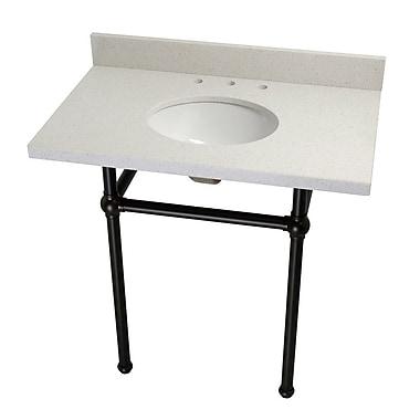 Kingston Brass Fauceture Templeton Quartz 36'' Console Bathroom Sink w/ Pedestal; Oil Rubbed Bronze