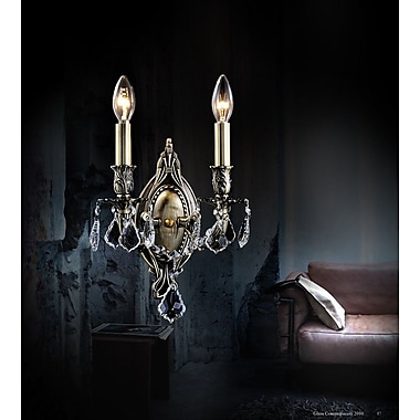 CrystalWorld Brass 2-Light Candle Sconce