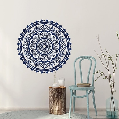 Decal House Mandala Yoga Decor Ornament Mehndi Bedroom Wall Decal; Cream