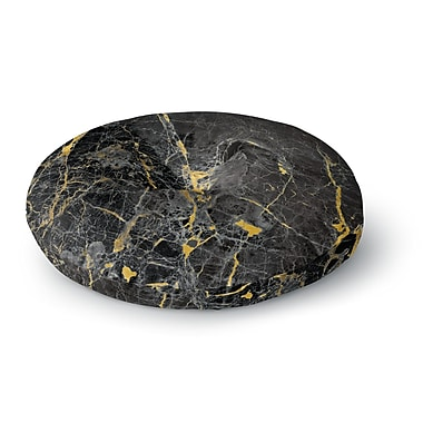 East Urban Home 'Gold Fleck Black Marble' Digital Abstract Round Floor Pillow; 26'' x 26''