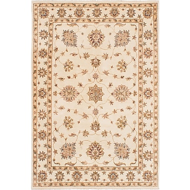 Darby Home Co Charlena Hand-Knotted Rectangle Cream Area Rug